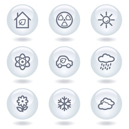 Ecology web icons set 2, white circle buttons Stock Vector - 6812060