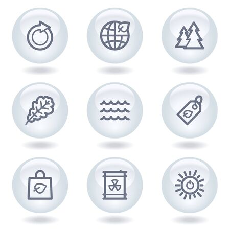 Ecology web icons set 3, white circle buttons Stock Vector - 6812062