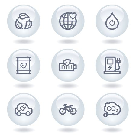 electro world: Ecology web icons set 4, white circle buttons