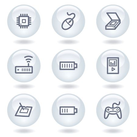 Electronics web icons set 2, white circle buttons Stock Vector - 6812036