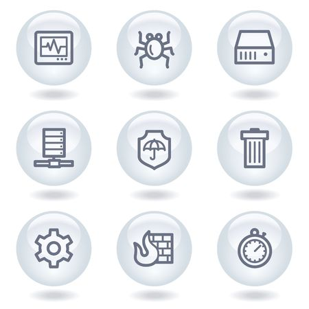 Internet security web icons, white  circle buttons Stock Vector - 6812041