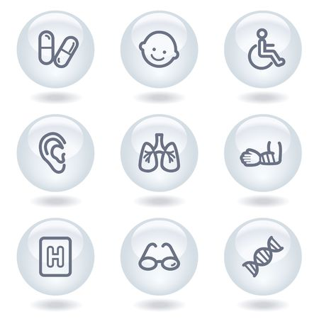 traumatic: Medicine web icons set 2, white circle buttons
