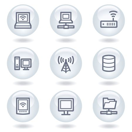 Network web icons, white circle buttons Stock Vector - 6812052