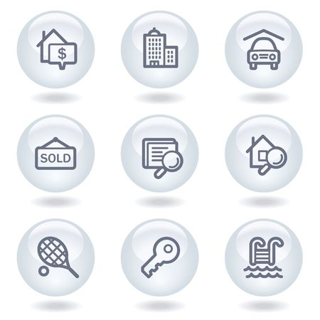 Real estate web icons, white circle buttons Stock Vector - 6812058