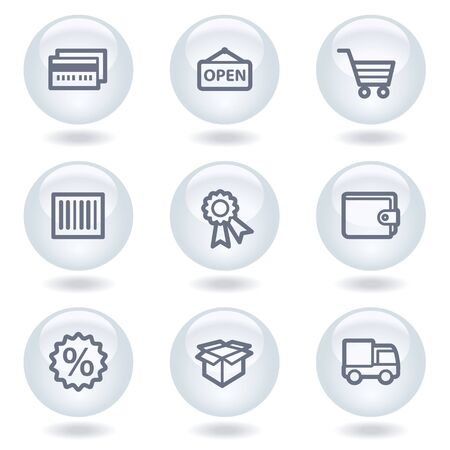 Shopping web icons set 2, white circle buttons Stock Vector - 6812034