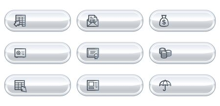 Banking web icons, white buttons with copyspace Vector