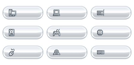 Computer web icons, white  buttons with copyspace Stock Vector - 6812103