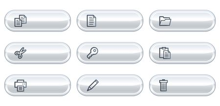 Document web icons set 1, white buttons with copyspace Vector