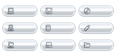 fdd: Drives and storage web icons,white  buttons with copyspace