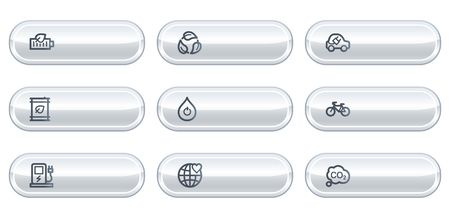 electro world: Ecology web icons set 4, white  buttons with copyspace