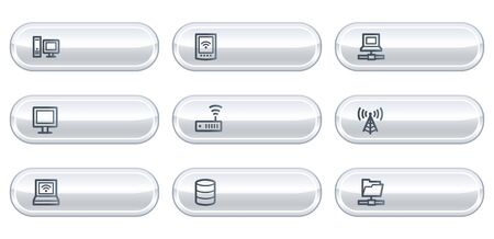 nettop: Network web icons, white  buttons with copyspace
