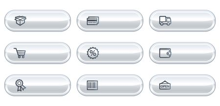 billfold: Shopping web icons set 2, white  buttons with copyspace
