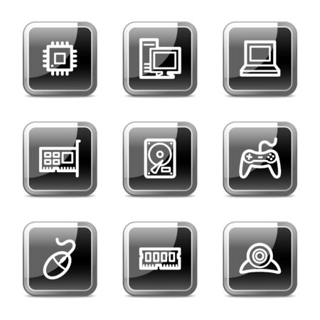 nettop: Computer web icons, black square glossy buttons series