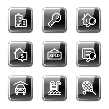 Real estate web icons, black square glossy buttons series Vector