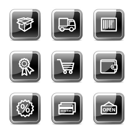 Shopping web icons set 2, black square glossy buttons series