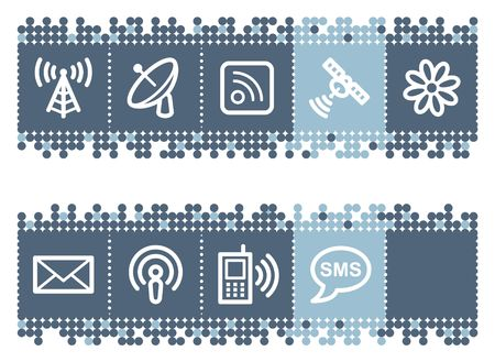 access point: Blue dots bar with communication web icons Illustration