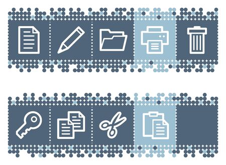 Blue dots bar with document web icons set 1 Stock Vector - 6826956