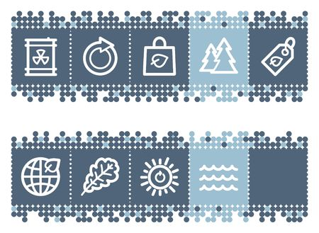 Blue dots bar with ecology web icons set 3 Vector