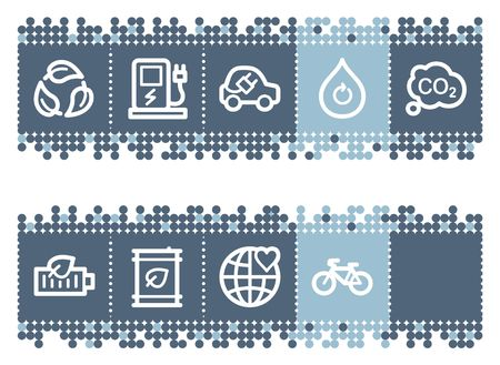 Blue dots bar with ecology web icons set 4 Vector