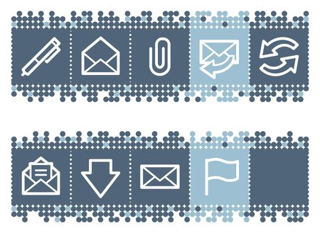 webmail: Blue dots bar with e-mail web icons set 1