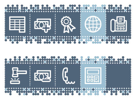 ebay: Blue dots bar with finance web icons set 2