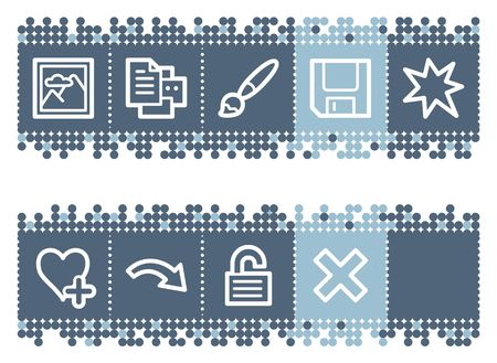Blue dots bar with image viewer web icons set 2 Vector
