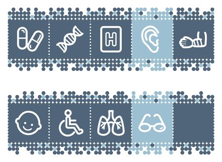traumatic: Blue dots bar with medicine web icons set 2