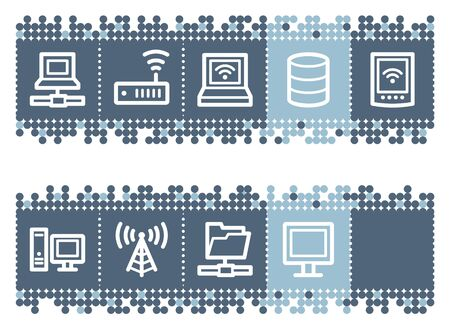 Blue dots bar with network web icons Vector