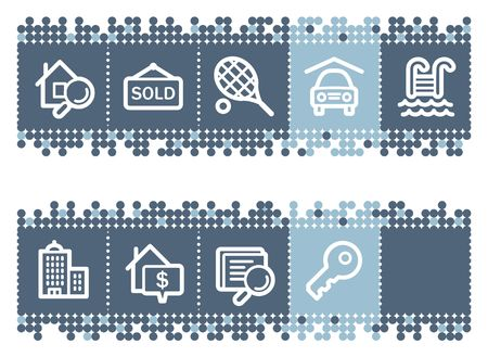 Blue dots bar with real estate web icons Stock Vector - 6827049