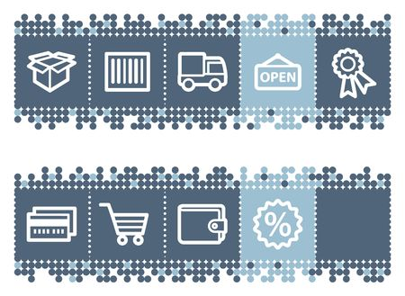 billfold: Blue dots bar with basic shopping icons set 2