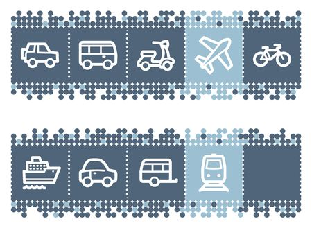 Blue dots bar with transport web icons Vector
