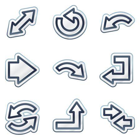 Arrows web icons set 1, deep blue contour sticker series Vector