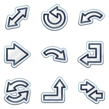 deep blue: Arrows web icons set 1, deep blue contour sticker series