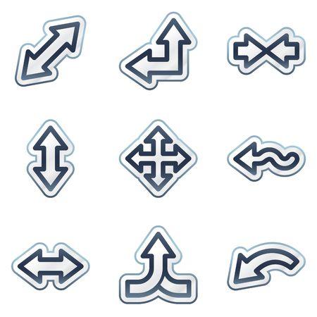 Arrows web icons set 2, deep blue contour sticker series Vector