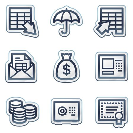 deep blue: Banking web icons, deep blue contour sticker series