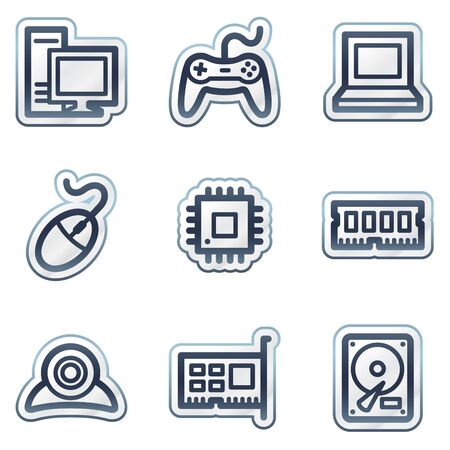 Computer web icons, deep blue contour sticker series Vector