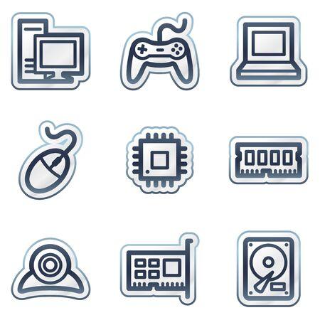 Computer web icons, deep blue contour sticker series Stock Vector - 6826826