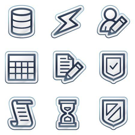 databank: Data base web icons, diepblauwe contour sticker serie