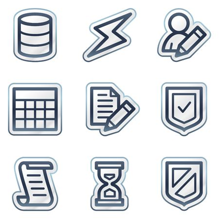 Database web icons, deep blue contour sticker series Vector