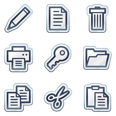 Documents web icons set 1, deep blue contour sticker series Vector