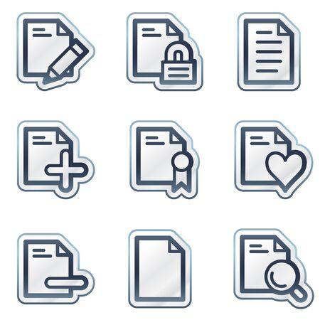 Documents web icons set 2, deep blue contour sticker series Vector