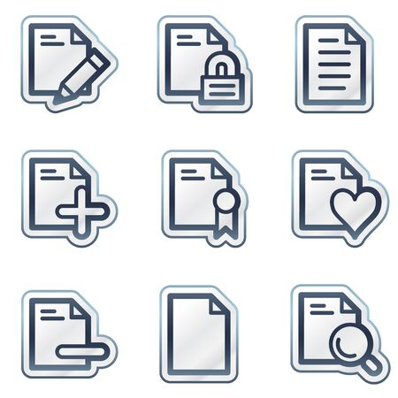 deep blue: Documents web icons set 2, deep blue contour sticker series Illustration