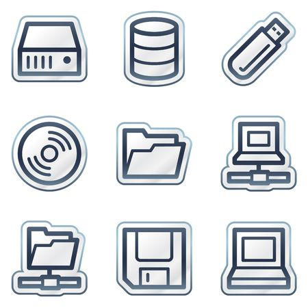 Drives and storage web icons, deep blue contour sticker series Vector
