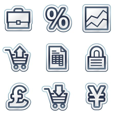 E-business web icons, deep blue contour sticker series Vector