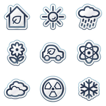 Ecology web icons set 2, deep blue contour sticker series Vector