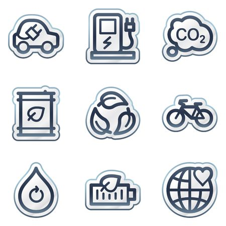 electro world: Ecology web icons set 4, deep blue contour sticker series Illustration