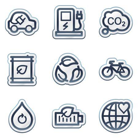 Ecology web icons set 4, deep blue contour sticker series Vector