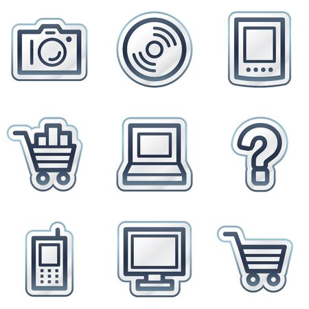 Electronics web icons set 1, deep blue contour sticker series Vector