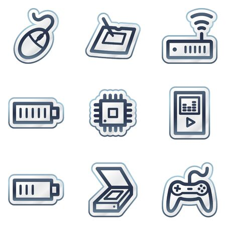 deep blue: Electronics web icons set 2, deep blue contour sticker series Illustration