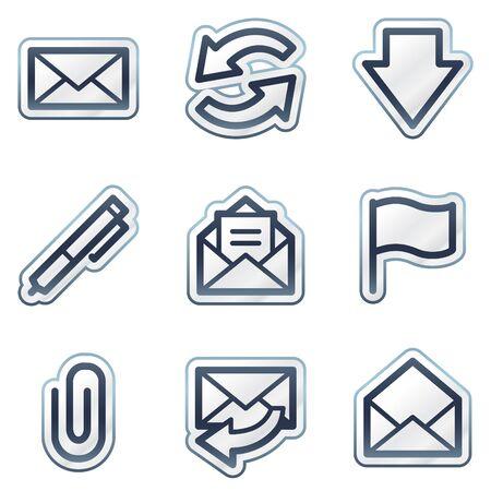 E-mail web icons set 1, deep blue contour sticker series Vector